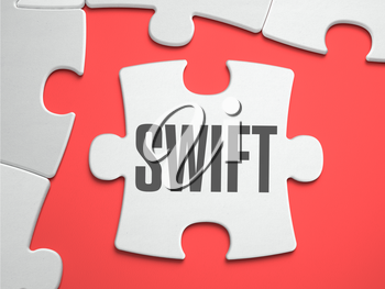 Swift - Text on Puzzle on the Place of Missing Pieces. Scarlett Background. Close-up. 3d Illustration.