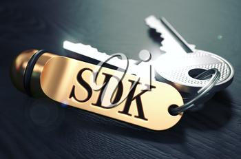 Keys and Golden Keyring with the Word SDK - Software Development Kit -  over Black Wooden Table with Blur Effect. Toned Image.