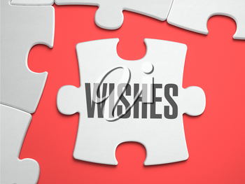 Wishes - Text on Puzzle on the Place of Missing Pieces. Scarlett Background. Close-up. 3d Illustration.