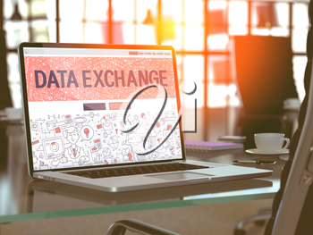 Data Exchange Concept Closeup on Landing Page of Laptop Screen in Modern Office Workplace. Toned Image with Selective Focus.