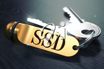 Keys and Golden Keyring with the Word SSD - Solid State Disk - over Black Wooden Table with Blur Effect. Toned Image.