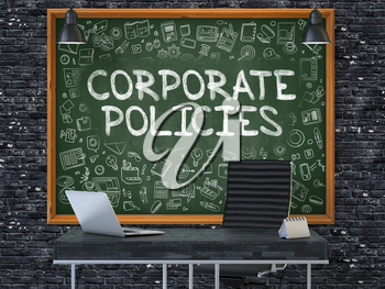Green Chalkboard with the text Corporate Policies Hangs on the Dark Brick Wall in the Interior of a Modern Office. Illustration with Doodle Style Elements. 3D.
