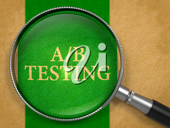AB Testing through Lens on Old Paper with Green Vertical Line Background. 3d Render.
