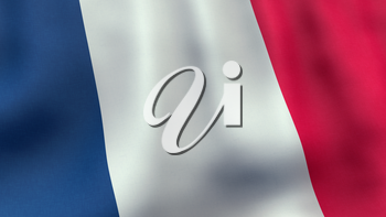 A 3D rendered still of a French flag, waving and rippling in the wind. Also available as loopable animated version in my portfolio.