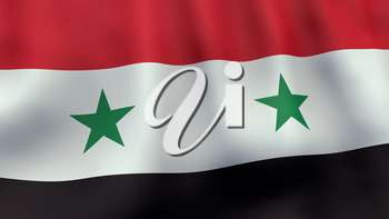 A 3D rendered still of a Syrian flag, waving and rippling in the wind. Also available as loopable animated version in my portfolio.