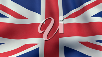 A 3D rendered still of a British flag, waving and rippling in the wind. Also available as loopable animated version in my portfolio.
