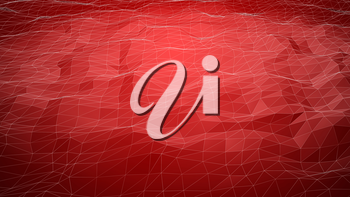 Red abstract polygonal background with wireframe lines. Computer generated 3d still.