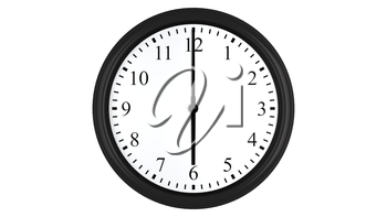 Realistic 3D render of a wall clock set at 6 o'clock, isolated on a white background.