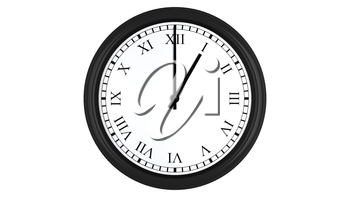 Realistic 3D render of a wall clock with Roman numerals set at 1 o'clock, isolated on a white background.