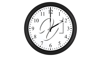 Realistic 3D render of a wall clock set at 2 o'clock, isolated on a white background.