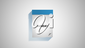 Blue weekly calendar on a white wall, showing Sunday. Digital illustration.