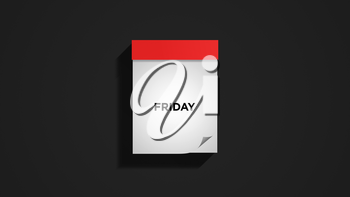 Red weekly calendar on a dark gray wall, showing Friday. Digital illustration.