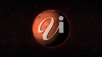 Planet Mars in outer space with stars in the background. Computer generated illustration. Mars texture is public domain provided by NASA.