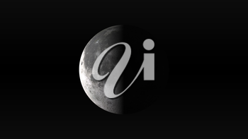 The Moon in last quarter phase on a black background. Digital illustration. Moon texture is public domain provided by NASA.