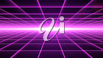 Horizontal magenta grid tunnel with light at the end.