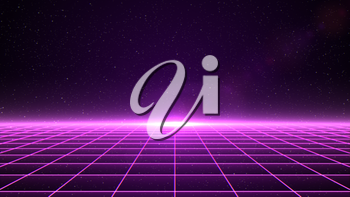 Horizontal matrix grid in space with stars in the background. Magenta version.