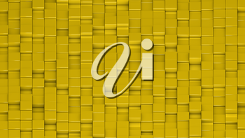 Grid of yellow cubes in a randomized pattern. Wide shot. 3D computer generated background image.