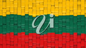 Lithuanian flag made of cubes in a random pattern. 3D computer generated image.