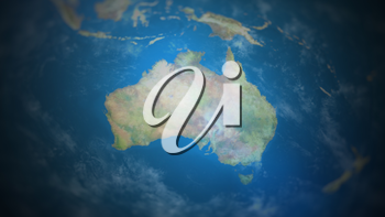 Australia on a world map with vignette and radial blur effect. Elements of this image are furnished by NASA.