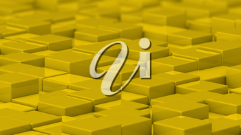 Grid of yellow cubes in a randomized pattern. Medium shot. 3D computer generated background image.