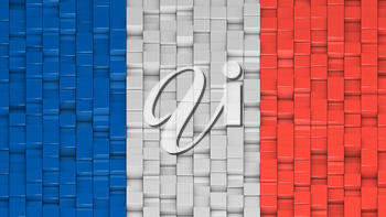 French flag made of cubes in a random pattern. 3D computer generated image.