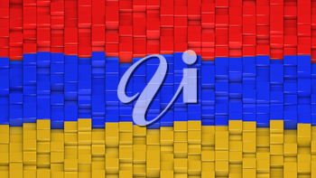 Armenian flag made of cubes in a random pattern. 3D computer generated image.