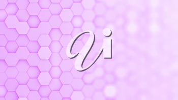Purple hexagonal grid in a random pattern. 3D computer generated image with gradual blur effect for copyspace.