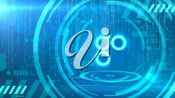 Omisego symbol on a cyan background with HUD elements related to computer technology.