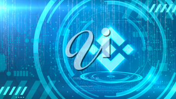 Binance Coin symbol on a cyan background with HUD elements related to computer technology.