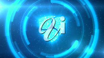 Blue NEM symbol centered on a starscape background with HUD elements.