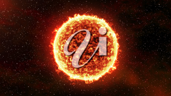 The Sun burning brightly on a stellar background. Computer generated illustration.