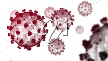 Multiple dark red coronavirus particles on a white background. 3D wireframe render.