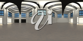 industrial warehouse HDRI map with LED light, 3Dillustration