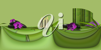 spa background with bamboo and orchids. HDRImap. 3D illustration