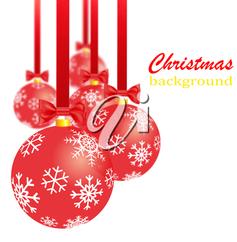 Royalty Free Clipart Image of Red Christmas Ornaments