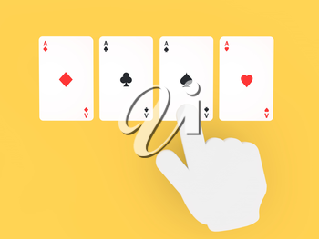 Hand pointing on playing cards. 3d render illustration.