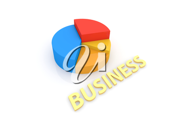 Graph and inscription business on a white background. 3d render illustration.