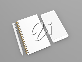 Blank white notebook pen and mobile phone on gray background. 3d render illustration.