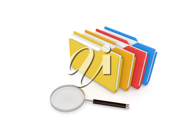 Search for information, folders and magnifying glass on a white background. 3d render illustration.