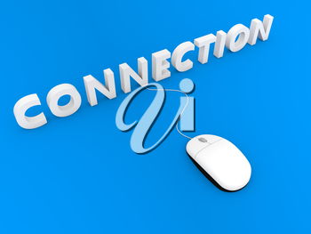 Computer mouse and connection on a blue background. 3d render illustration.