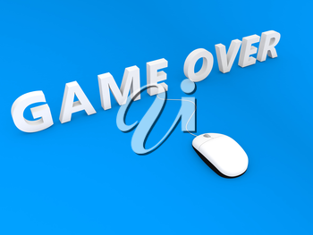 Computer mouse and game over on a blue background. 3d render illustration.