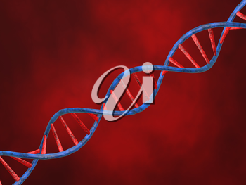 Abstract image of DNA on a red background. 3d render illustration.