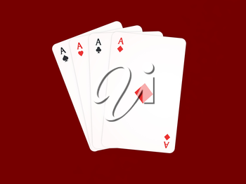 Four aces playing cards on a red background. 3d render illustration.