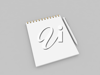 Blank notebook and pen on a gray background. 3d render illustration.
