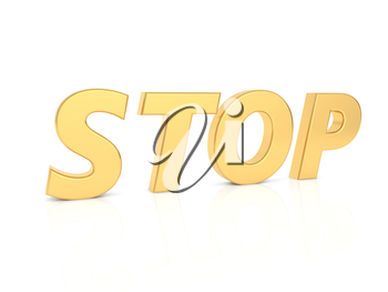 Stop - inscription in gold letters on a white background. 3d render illustration.
