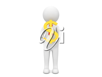 Businessman with a dollar symbol in his hands on a white background. 3d render illustration.