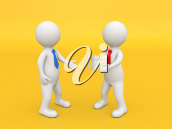 A man gives a box with a gift on a yellow background. 3d render illustration.