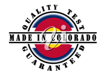 Quality test guaranteed stamp with a state flag inside, Colorado