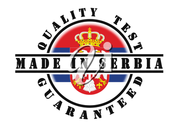 Quality test guaranteed stamp with a national flag inside, Serbia