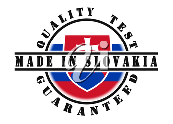 Quality test guaranteed stamp with a national flag inside, Slovakia